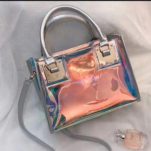 Handbags - Silver Faux Leather Holographic Handbag